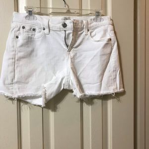 White cut off denim shorts by J Crew size 26